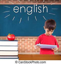 contre, livres, tas, anglaise