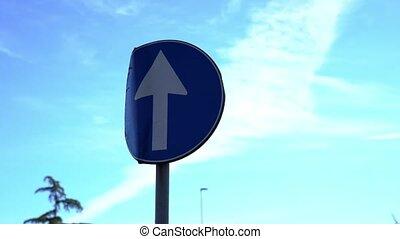contre, métal, route, spectacles, ciel, devant, voitures, signe, seulement, bleu