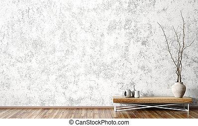 contre, mur, rendre, table, côté, intérieur, bois, béton, 3d