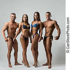 contre, musculaire, gris, modèles, fitness, coup, mur