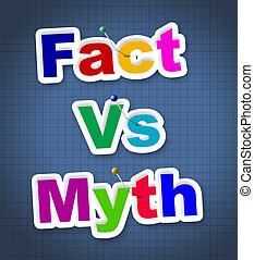 contre, mythe, décrire, -, illustration, réalité, vs, mots, duperie, truthful, fait, 3d