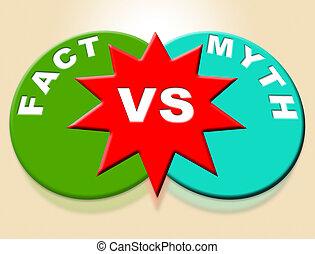 contre, mythe, describes, -, illustration, réalité, vs, mots, duperie, truthful, fait, 3d