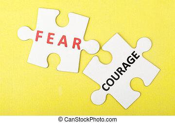 contre, peur, courage