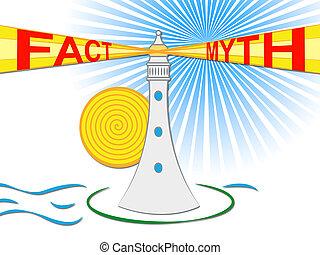 contre, phare, mythe, describes, -, illustration, réalité, vs, duperie, truthful, fait, 3d