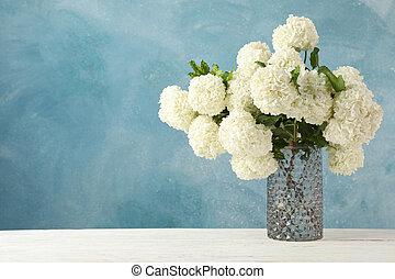contre, printemps, arrière-plan., plante, fleurs, hortensia, vase, bleu