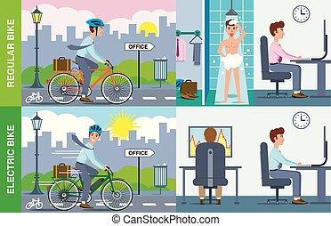 contre, régulier, vélo, électrique, illustration