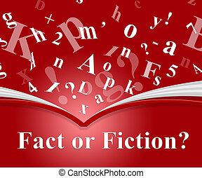contre, représente, tromperie, -, illustration, fiction, vs, fait, mots, authenticité, rumeur, 3d