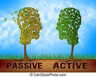 contre, représenter, têtes, illustration, stratégie, passif, actif, proactive, 3d