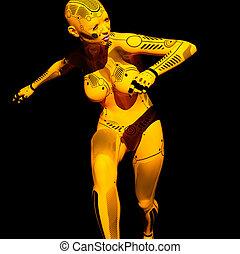contre, robot, fond, noir, humanoïde