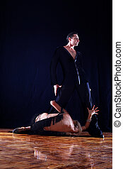 contre, séparation, fond, -, noir, danseurs, salle bal