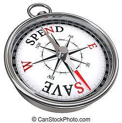 contre, sauver, concept, dépenser, compas
