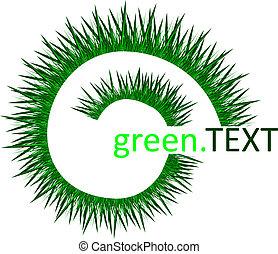 contre, spirale, herbe, vecteur, vert, arrière-plan., ...