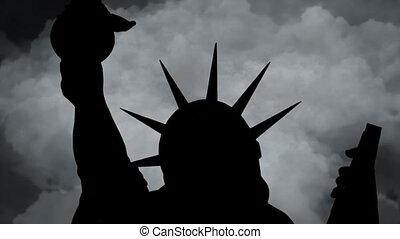 contre, statue, défaillance, temps, nouveau, ville, york, ...