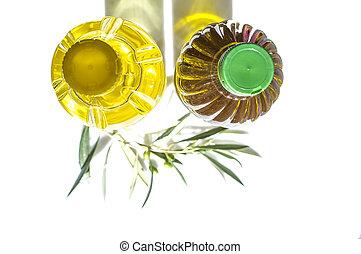 contre, supérieur, olives, huile, tournesol, jeune, branche, olive, bottled., vue