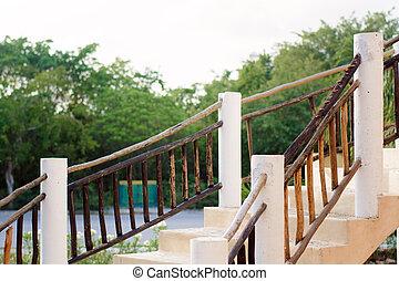 contre, toile de fond, rampe bois, forest., escalier, blanc