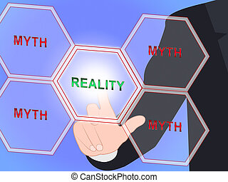 contre, vrai, vie, faux, mythe, projection, -, illustration, réalité, vs, mot, mythologie, 3d