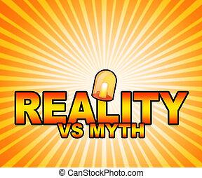 contre, vrai, vie, faux, mythe, projection, -, illustration, réalité, vs, mots, mythologie, 3d