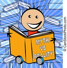 contre, vrai, vie, faux, mythe, projection, -, illustration, réalité, vs, mythologie, livre, 3d