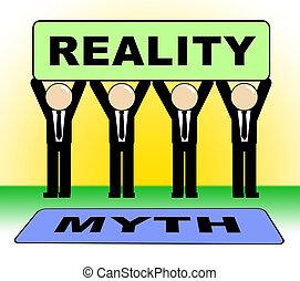 contre, vrai, vie, faux, réalité, mythe, projection, -, illustration, signe, vs, mythologie, 3d