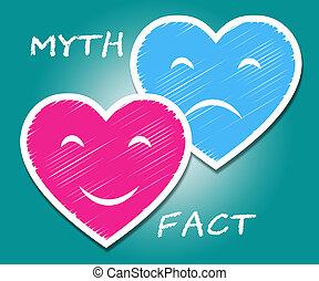 contre, vs, mythe, -, illustration, réalité, describes, duperie, cœurs, truthful, fait, 3d