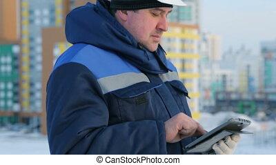 contremaître, commandant, tablette, projet, informatique, construction