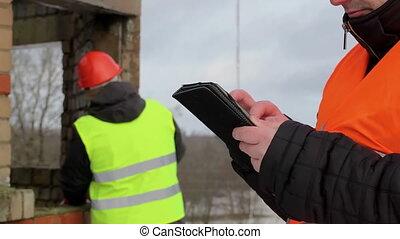 contremaître, construction, pc tablette
