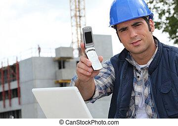 contremaître, construction, téléphone, tenue, site