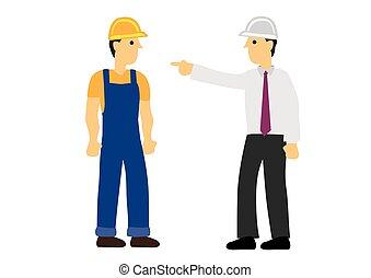 contremaître, fâché, réprimande, worker., construction