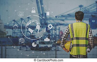 contremaître, fonctionnement, business, logistique, bateau, associé, interface, exportation, récipient, connexion globale, fret, importation, arrière-plan., cargaison, technologie