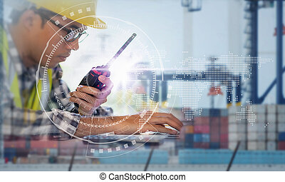 contremaître, récipient, fonctionnement, business, cargaison, global, arrière-plan., connexion, exportation, fret, associé, interface, importation, bateau, technologie, logistique