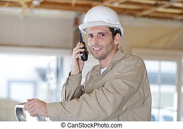 contremaître, site, talkie, utilisation, walkie