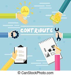 contribute contribution hand give money help work together as a team concept vector