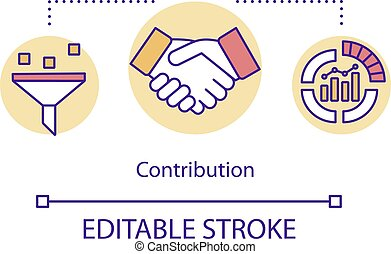 Contribution concept icon. Handshake between share holders. ...