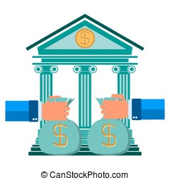 contribution to the bank's hand with money, Vector bank concept