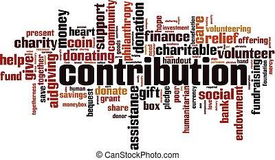 Contribution word cloud concept. Vector illustration