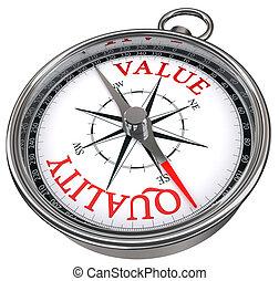contro, concetto, qualità, valore, bussola