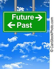 contro, concetto, segno, passato, futuro, strada