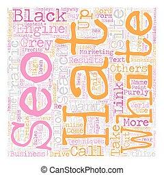 contro, concetto, testo, wordcloud, sfondo nero, seo, cappello bianco