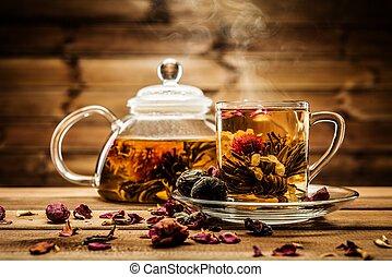 contro, dentro, fondo, legno, tazza tè, fiore fiorente, ...