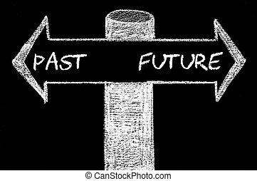 contro, futuro, frecce, opposto, passato