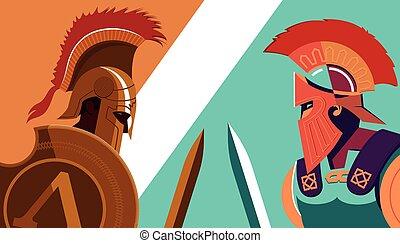 contro, guerriero, trojan, scudo, greco, spartan, -, soldato, vettore, spada, presa a terra, illustration.