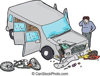 contro, incidente automobile, bicicletta