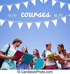 contro, insieme, standing, studenti, ciarlare, corsi