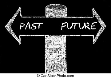 contro, passato, futuro, frecce, opposto