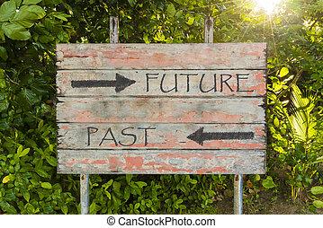 contro, raggi, vecchio, direzionale, vendemmia, frecce, segno, passato, fondo., futuro, asse, sole, forrest