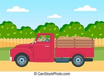 contro, strada, camion, legno, raccogliere, rurale, verde, recinto, patata, albero, campo, indietro