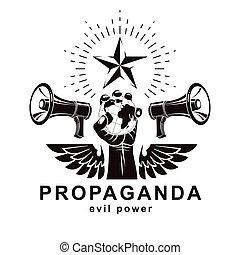 control., altoparlanti, presentazione, globale, propaganda, globo terra, braccio, manifesto, prese, manipolazione, elevato, vettore, illustration., mezzi, composto