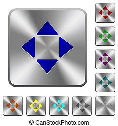 Control arrows rounded square steel buttons