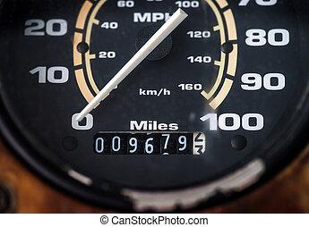 control, automóvil, velocidad, tablero de instrumentos