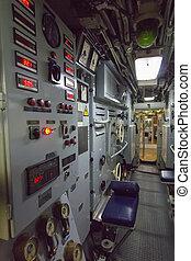 control, baterías, un, viejo, submarino